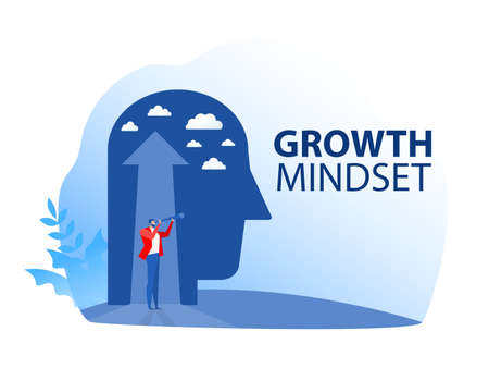 Business vision with  looking for opportunities in spyglass standing  growth mindset concept vector illustration. Vettoriali