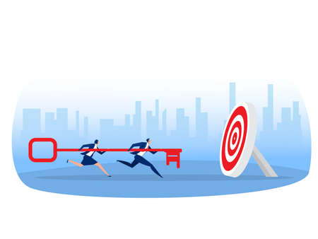 Business team carries huge key to goal concept. working together  team achievement,Metaphor is key to success. Flat vector illustration