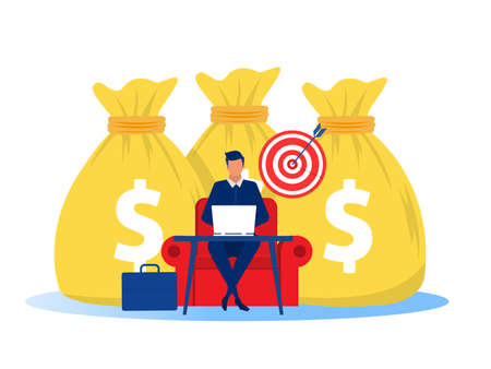 Businessman earning money from online business. profit Online business concept. Vector illustration