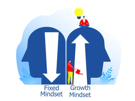 Big head human think growth mindset different fixed mindset concept vector