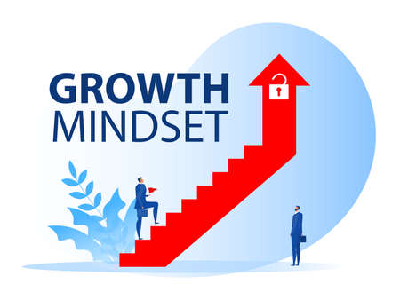 businessman walking on staircase on arrow growth mindset to career concept vector illustrator