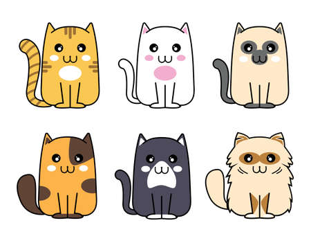 Cute cat, funny kitten Animal meow, cartoon fluffy pets exact  collection.cartoon meow cat vector Illustration
