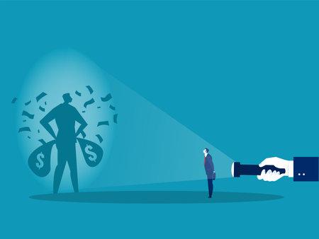 Businessman looking him rich shadow from flashlight concept vector illustrator