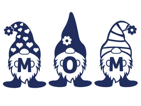 Three Gnomes holding MOM word on Mothers day vector illustrator.