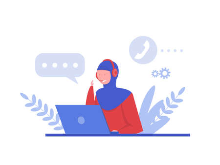 muslim woman customer support , Call center and hotline concept and Ask questions to corporate assistance.Vector