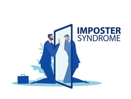 Imposter syndrome.businessman looking a mirror with fear shadow behind,Mental Health Problems, Anxiety and lack of self confidence at work Vector Illustration
