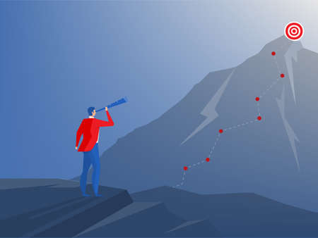businessman standing on top of cliff with telescope.vision Strategy, planning,business concept