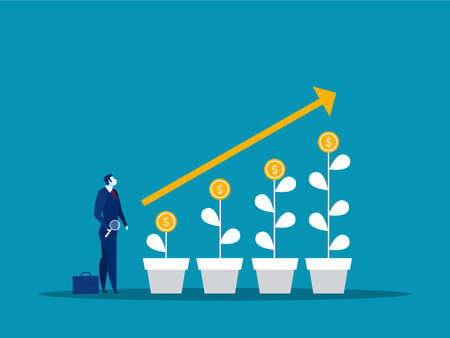 businessman looking for stock market grow up investment concept vector illustrator 矢量图像