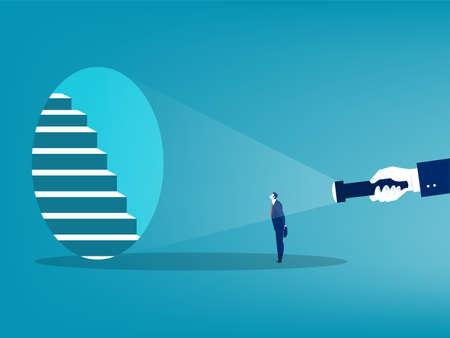 Human hand holding flashlight  stairs  direct walking forward business goal concept vector illustrator. 矢量图像