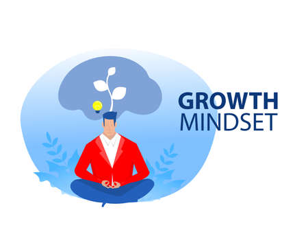 businessman manager leader sitting dreaming or thinking growth mindset concept illustration.