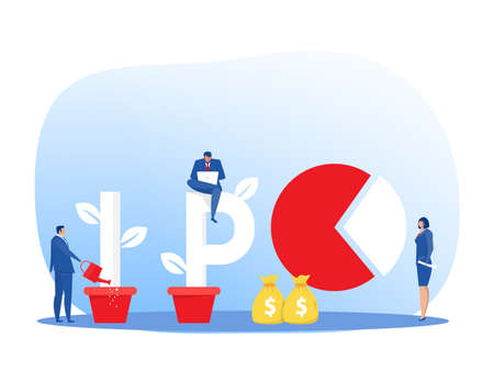 IPO, initial public offering. people Investing strategy Concept ,Flat vector illustration.