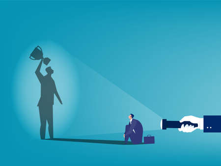 Human hand holding flashlight get award shadow business success concept vector illustrator.