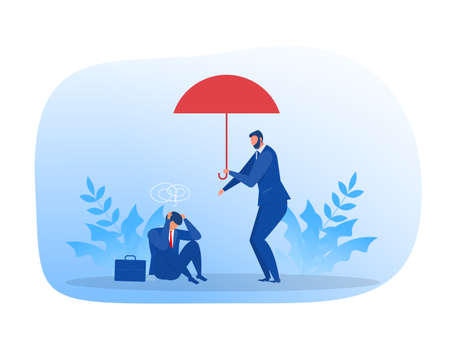 businessman Helping People suffer from fail business vector