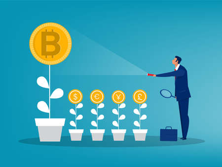 Businessman holding a flashlight uncovering Bitcoin price arrow up sign. exchange coin Concept vector illustration