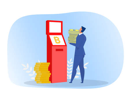 Businesses withdraw money from ITM with virtual or digital money Vector illustration Ilustrace