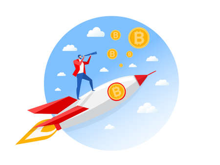 Businessman with bitcoins  looking through a telescope on rocket. Man makes plans and invest for the future. vector illustration