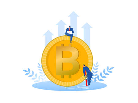 Businessman is pumping bitcoins growth cryptocurrency concept  vector illustrator.