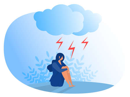 Woman suffering from depression. Anxiety, emotional disorder concept Flat vector illustrator