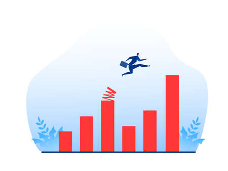 businessman jumping to growth graph with springboard concept vector illustrator.