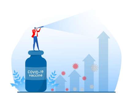 Businessman use through a telescope on Coronavirus COVID-19   vaccine bottle to rising arrow economic chart vector illustration