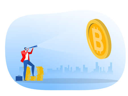 Businessman looking through a telescope bitcoin for invest future. vector illustration Ilustrace