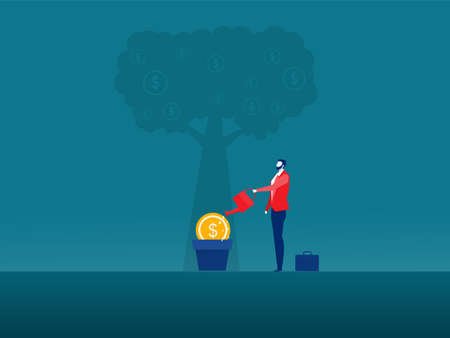 illustrator business watering money tree , investment finance, growth financial Ilustrace