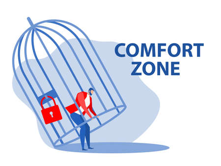 Businessman trying  unlocking cage and comfort zone ,freedom concept vector illustrator