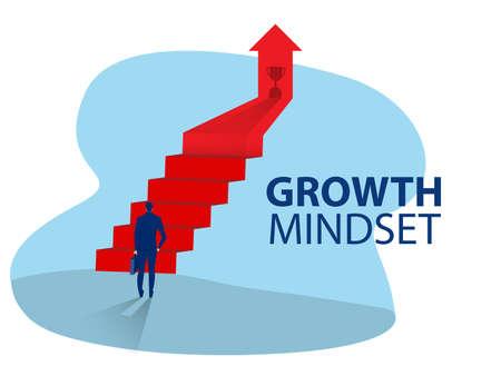 Businessman start climbing stair for successful career achievement, growth mindset concept vector illustrator