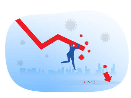 Businessman losing his balance sliding down on the falling graph after covid-19 or coronavirus vector illustration