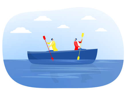 Two businessmen rowing in the different directions in a canoe, Conflict situation vector illustration