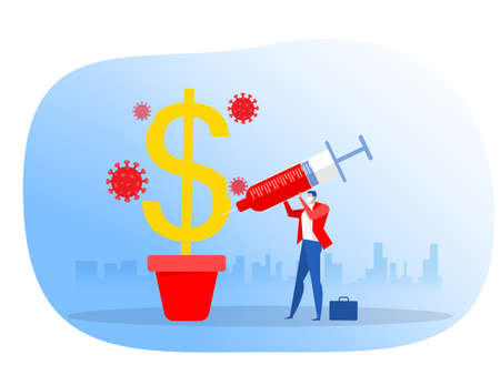 Businessman injecting vaccine into dollar protect covid 19, Vector illustration.