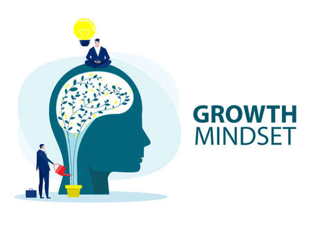 businessman holding light bulb for put think growth mindset different fixed mindset concept vector Ilustrace