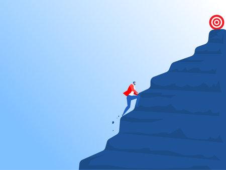 businessman climbs a steep mountain to forward goal. Vector cartoon illustration