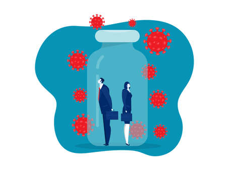 woman and man business in vaccin bottle protect from covid 19 or coronavirus concept vector illustrator