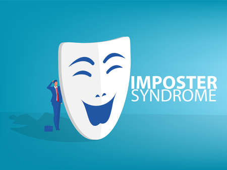 Imposter syndrome.man standing behind mask . Anxiety and lack of self confidence at work; the person fakes is someone else