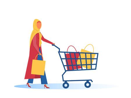 Hijab muslim woman with shopping cart Flat design vector illustrator.