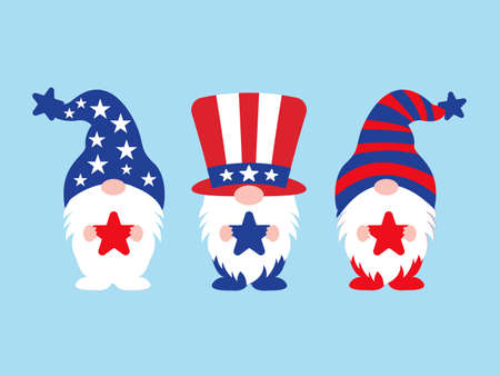 Independence Day or 4th of July Gnomes  vector illustrator