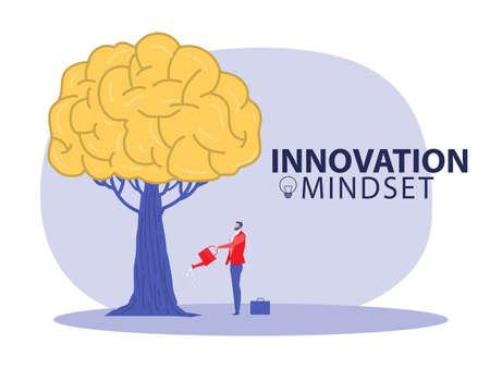 Growing innovation, People planting brain growth mindset growth idea concept vector illustrator Ilustrace