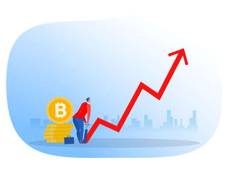 businessman bitcoin by air pump. growth invest concept.vector illustrator