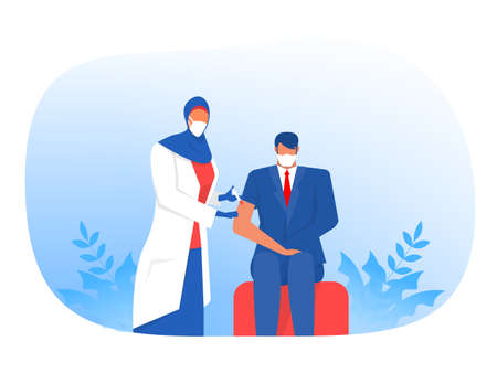 Muslim Nurse Injecting Vaccine Injection, Vaccine against coronavirus Male patients Vector flat illustration Ilustrace