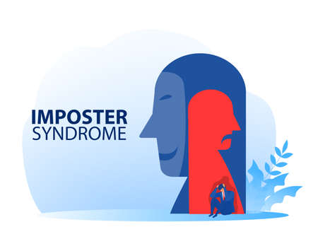 Imposter syndrome. businessman sitting sad with mask happy and Anxiety and lack of self confidence at work; the person fakes is someone else concept
