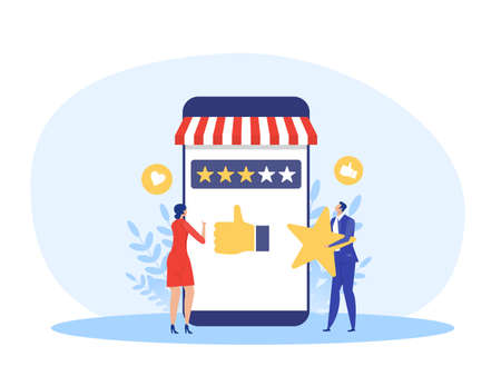woman and man holding Stars rating for vote store shop business concept vector illustration