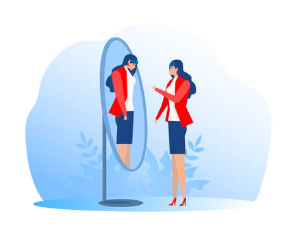 Happy woman looking at her sad crying reflection in mirror. Flat vector illustration Ilustrace