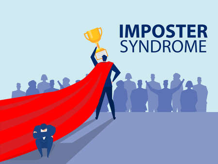 Imposter syndrome.man standing for her present profile Imposter syndrome.man standing for her present profile with fear shadow behind. Anxiety and lack of self confidence at work; the person fakes is someone else concept