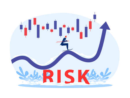 Businessman use sky jumping on arrow grow up with  stock market graph above the word Risk vector illustrator.