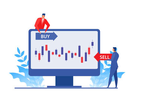 Businessman analysis stock market on laptop, buy and sell price goal direction. Flat  vector illustration concept design.