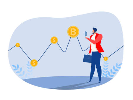 Businessman investor watch to finance bitcoin graph data stock exchange traders concept vector illustration.