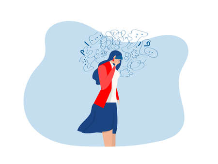 woman suffers from obsessive thoughts, headache, unresolved issues, psychological trauma, depression.Mental stress panic mind disorder illustration Flat vector illustration. Ilustrace