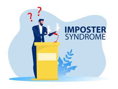 imposter syndrome man covering face under masks with different emotions fake , mental disorder changing natural personality concept portrait vector illustration
