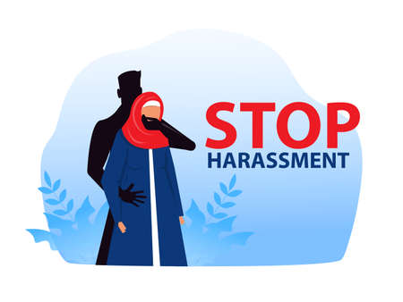 muslim woman with stop harassment and abuse no sexual violence concept vector illustration